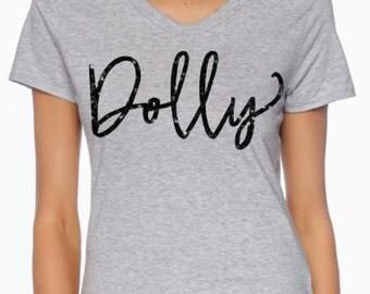 Dolly shirt - Women's Custom Glitter Shirt - Dolly Parton shirt