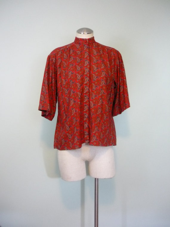1960s Wool Blouse / Rich Red, with Olive, Cream, and Navy Paisley / Trapeze Top / Kimono Sleeves / Modern Size Large L