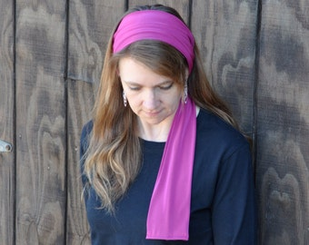 Women's Magenta Stretch Hair Wrap, Headband, Headscarf, Hair Tie, Headcovering, Head Covering, hair scarf, handmade gift, unique gift