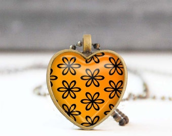 Orange heart necklace, Floral heart shaped Photo necklace, Bridesmaid gift, Love gift for her, 5011-8