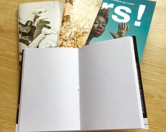 Sketchbook/notebook. Hand made from recycled magazine covers.