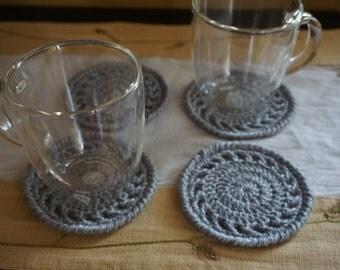 Set of four coasters, gray coasters, coffee coasters, mug coasters, gray doilies, table accessories
