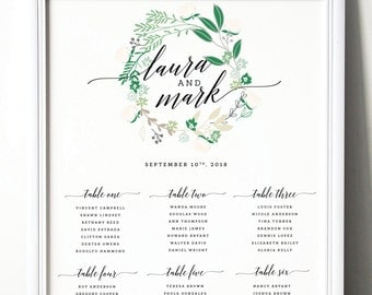 Green Wreath WEDDING TABLE SEATING Chart, Printable File, Customisable Size, Table Numbers, Green Leaves Table Seating Chart