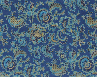 Fringe - 1 yd -Hoffman - Gold Metallic and Blue Feathered print