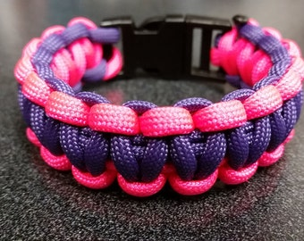 Purple/hot pink paracord bracelet