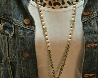 Fossil Bead and Green Semi Precious Hand Knotted Vintage Inspired Necklace