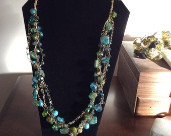 Crocheted wire 4 strand beaded necklace