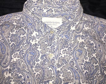 Madison Paisley Button Up Blue, Silver, and White
