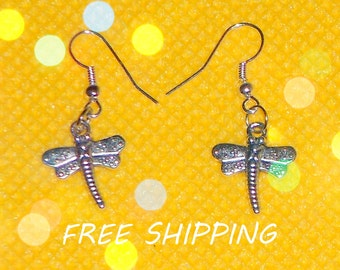 dangle earrings, metal dragonfly dangle earrings