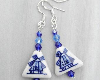 Delft blue windmill earrings, Dutch dangle earrings, Delft jewelry, Ceramic dangle earrings, Swarovski, sterling silver, white, blue