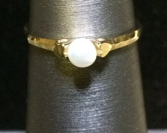 14k Solid Gold Child's Pearl Ring