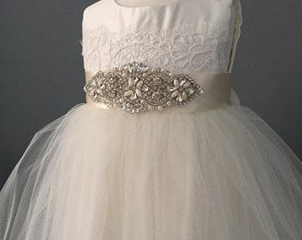 Rhinestone flower girl dress, vintage style flower girl dress, Alencon lace dress, special occasion, christening, tulle dress, pageant dress