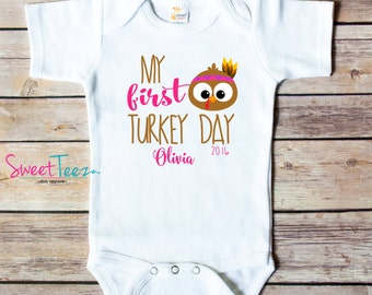 My First Turkey Day Shirt Turkey Baby Bodysuit Thanksgiving Pilgrims Personalized Shirt Bib One Piece
