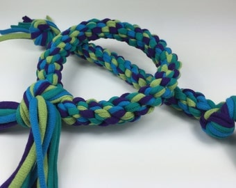 Peacock Mix Rope Dog Toy made from Upcycled T-shirts