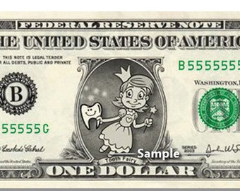 Tooth Fairy on Real Money - Custom Dollar Bill Art