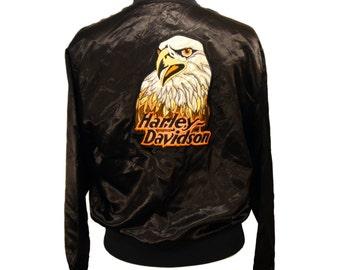 Vintage Harley Davidson Souvenir Bomber Jacket with Eagle Embroidered on the Back