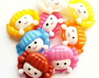 "Girl Buttons, Shank Sewing Buttons, Acrylic Buttons, Child Buttons, Novelty Buttons, 23 mm X 18 mm, 29/32 "" X 45/64 "", Mixed Color, 10 Pcs"