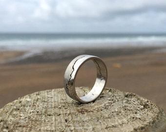 Palladium Coastline Ring, personalised coastline
