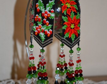 Holly & Poinsettia Beaded Ornament