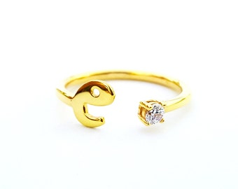 Custom Gold Initial Ring - Birthstone Ring - Personalized Ring - Letter Ring