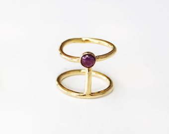 gold ruby ring, ruby ring , stacking rings, geometric ring, gemstone ring, Ruby  gold ring, ruby  jewelry, Ruby ring