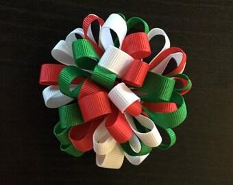 Christmas Loop Puff Hair Bow