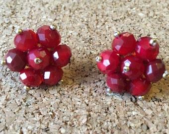 Red beaded stud earrings