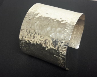 Sterling Silver Large Hammered Cuff Bracelet
