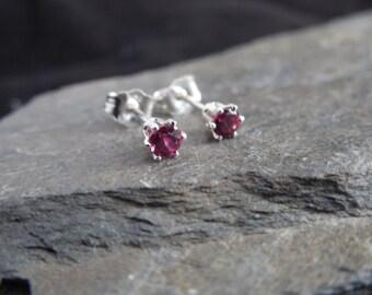 Natural pink Rhodolite garnet gemstone earrings, 3 mm, sterling silver 0.925, January birthstone, ear stud
