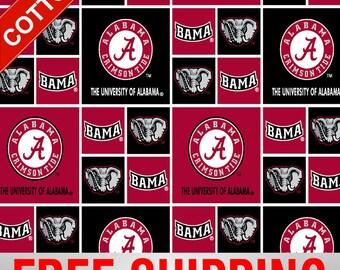 "University of Alabama Cotton Crimson Tide Fabric NCAA 45"" AL-020 Wide Free Shipping"