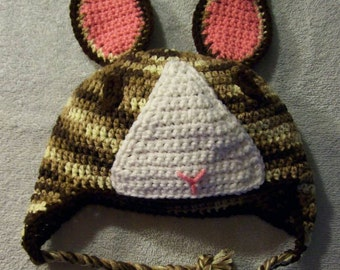 Dutch Rabbit Hat, Crochet Bunny Rabbit, Dutch Bunny Hat, Dutch Rabbits, Handmade Rabbit Hat, Rabbit Lover Gift, Breeders, Two Toned Rabbit
