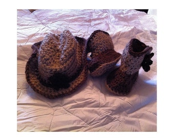 Adorable Crochet Cowboy Hat and Boots - Photo Prop - Crochet Cowboy Hat - Crochet Cowboy Booties