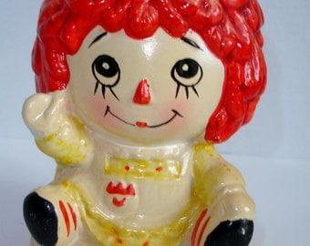 Vintage Ceramic Raggedy Ann Vase / Planter, Reversible Sides with Happy & Sad Face