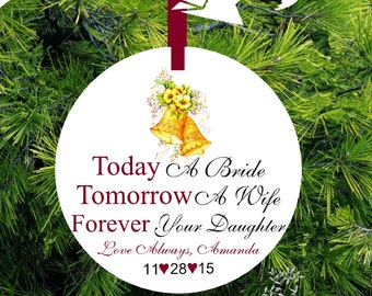 Today A Bride, Tomorrow A Wife, Forever Your Daughter Personalized Porcelain Christmas Ornament - Item# TM05 - lovebirdschristmas