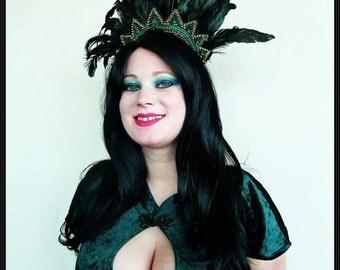 Aztec. headdress, headpiece, halo, burlesque, feathers, model, catwalk, photoshoot, burlesque, drag, goth, art deco, clubbing, Gatsby,
