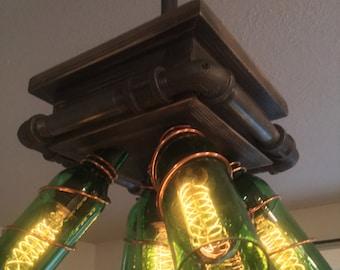 Industrial beer bottle lighting fixture
