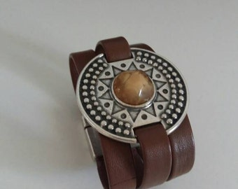Navajo style leather bracelet