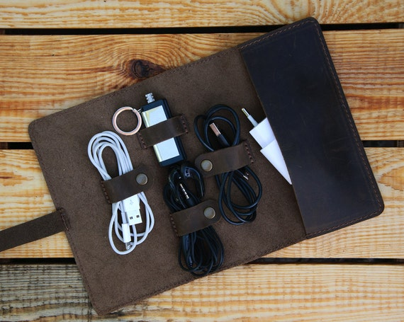 Leather Cord Organizer Personalized Cable Organizer Charger