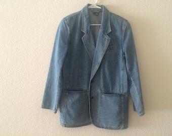 Vintage 1990s Denim Jacket/Vintage Jean Jacket/Blue Denim