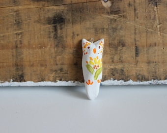 Painted clay owl pendant-blooming flower