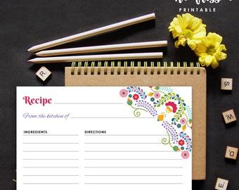 Fiesta Recipe Card   Bridal Shower Recipe Card   Printable Recipe Card   Kitchen Shower Recipe    4 x 6   Printable Instant Download