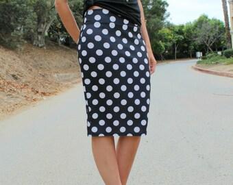 Black White Big Polka Dot Ponte Fitted Pencil Skirt