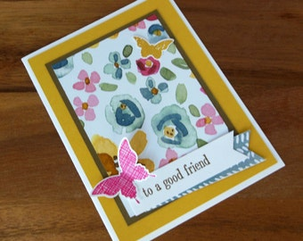 Friendship Card - Hand Stamped Floral Butterfly Friendship Card - Homemade Floral Friendship Card - Handmade Just Because Friend Card