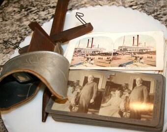Antique Stereograph Card Viewer//Sun Sculpture U&U Pat'd June 14, 1881//55 View Cards//Antique Stereograph