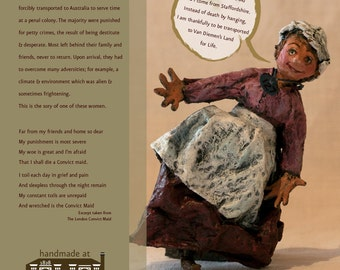 Ann Wood—An Australian Convict Paper Mache Doll, Handmade Folk Art Doll