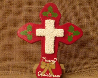 Christmas Wood Cross, Religious Decor, Wooden Wall cross, Merry Christmas, Wood Wall Decor, Red Wood Cross, Handmade Cross, Painted Holly