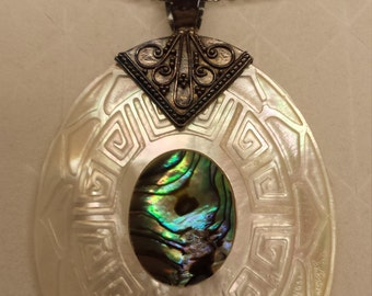 Abalone and Carved Mother of Pearl Sterling Silver 0.925 Pendant With 22-Inch Steel Chain