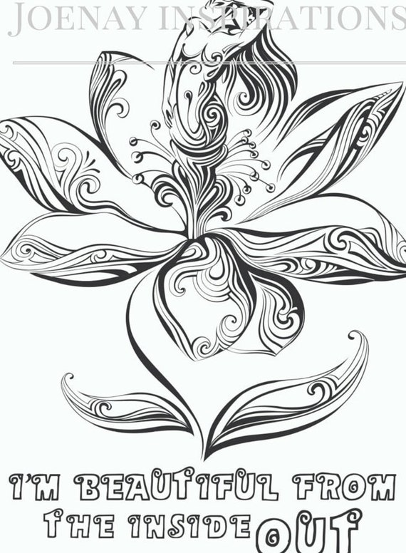 Adult Coloring Book Printable Coloring Pages, Coloring Pages, Coloring Book for Adults Instant Download Inspiration and Affirmation 1 page 9