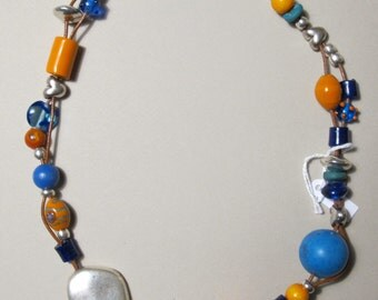 Necklace turquoise and orange VILMA