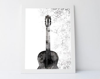 Guitar art print, wall art printable, printable art, black white print, wall art print, wall decor, modern print, guitar, gift print
